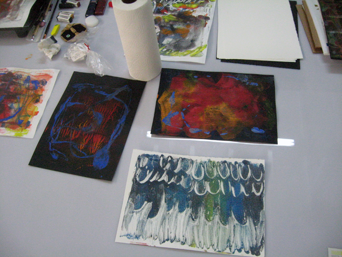 Encaustic Monotypes done during the demonstration at Turn-Based